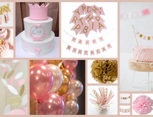 eerste verjaardag, baby, dreumes, 1 jaar, kinderfeestje, moodboard, kleurthema, roze, goud, wit, feest, kinderverjaardag, allereerste keer, jarig, moederschap, mamablog, inspiratie, mama van dijk, christelijk
