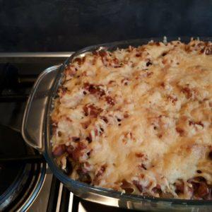 champignonpasta met kaas en spek